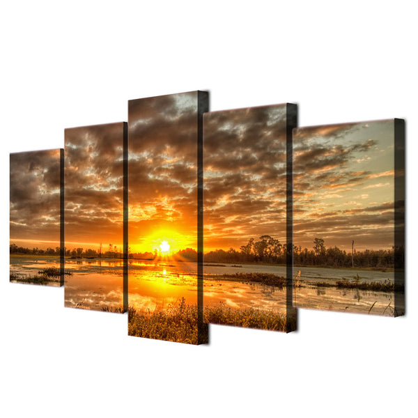 5 piece canvas art sunrise morning sun HD print wall pictures for living room canvas painting nordic art home decor ny-6191
