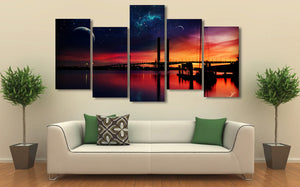 HD Printed Sunset Night Bridge Painting Canvas Print room decor print poster picture canvas Free shipping/ny-3074