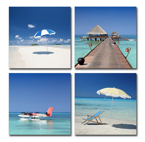 BANMU Blue Seascape Beach Modern Canvas Wall Art Paintings Sea Landscape Artwork for Bedroom Living Room Decoration