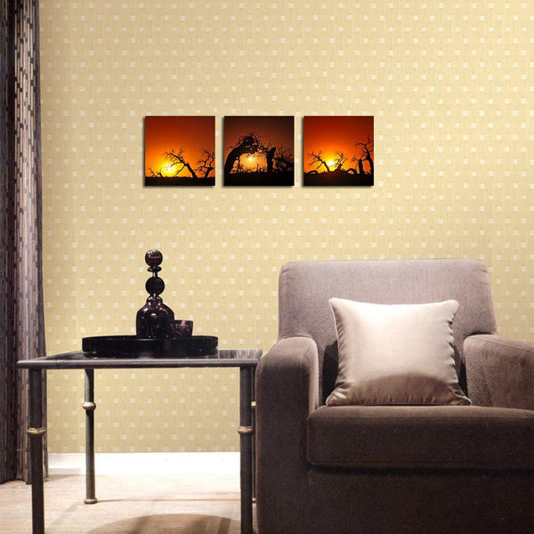 BANMU 3 Sets Trees under Sunset Pictures Canvas Wall Artwork Giclee ...