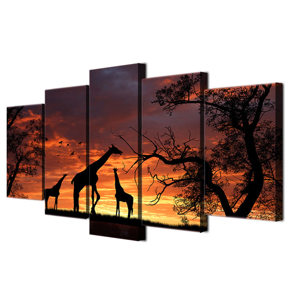HD Printed  giraffe sunset Painting Canvas Print room decor print poster picture canvas Free shipping/ny-2861