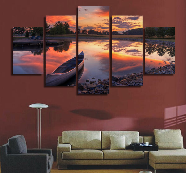 HD Printed Canoe At Sunset Painting Canvas Print room decor print poster picture canvas Free shipping/ny-4984