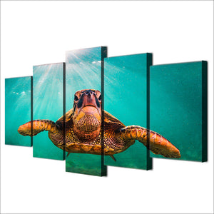 HD printed 5 piece canvas art Turtles animal Paintings living room decor ocean art canvas prints free shipping ny-6532