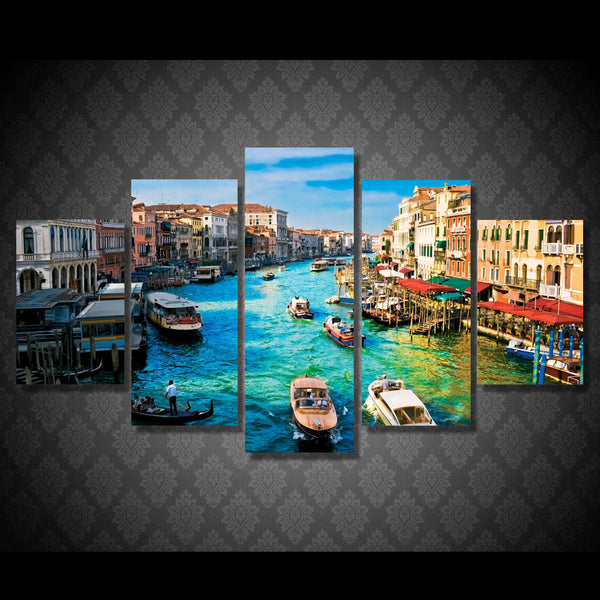 HD Printed 5 piece canvas art paintings Venice water city boat river room decor canvas wall art posters and prints ny-6208
