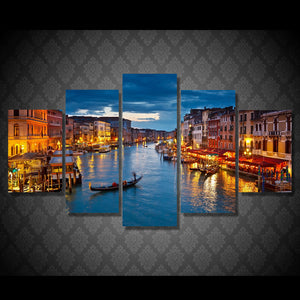 HD Printed 5 piece canvas art paintings Venice water city boat light room decor canvas wall art posters and prints ny-6206
