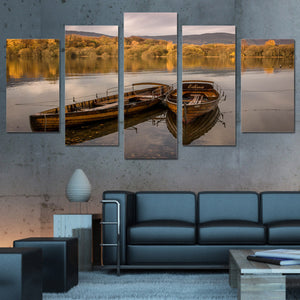 wall art canvas painting 5 piece HD Printed lake floating boat yellow forest sunset wall frames posters and prints ny-6126