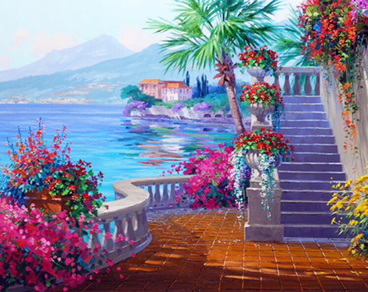 Seascape Painting By Numbers Frameless Oil Painting DIY Coloring By Numbers Wall Pictures For Living Room GX7243 40*50cm