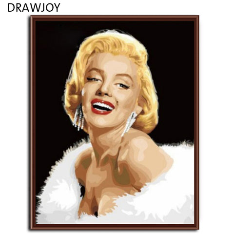 Frameless Wall Art Pictures Oil Painting By Numbers Hand Painted On Canvas Movie Poster Marilyn Monroe Golden Hair 40*50cm G003