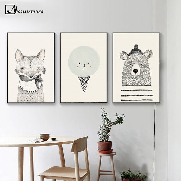 NICOLESHENTING Nordic Art Bear Fox Canvas Poster Painting Cartoon Animal Wall Picture Print Children Baby Room Decoration