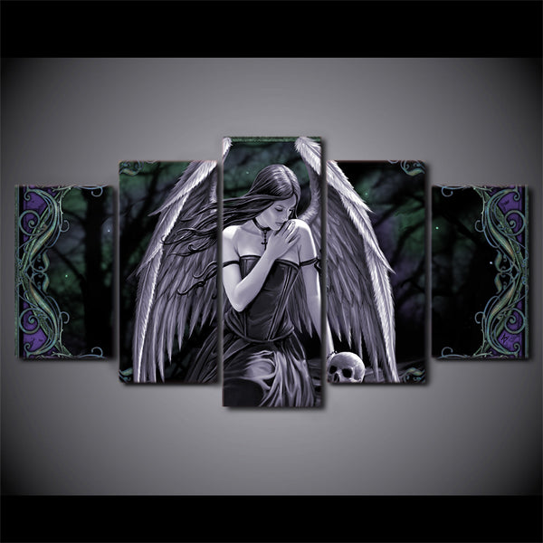 HD Printed Angel Girl with wings skull Painting Canvas Print room decor print poster picture canvas Free shipping/ny-4210