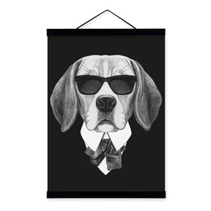 Modern Black White Vintage Italy Abstract Mafia Dog Cats Framed Canvas Paintings Nordic Home Decor Wall Art Print Picture Poster