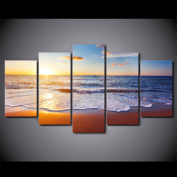 5 Piece Canvas Art Beach Pictures HD Printed Wall Art Home Decor Canvas Painting Picture Poster Prints Free Shipping NY-6584C