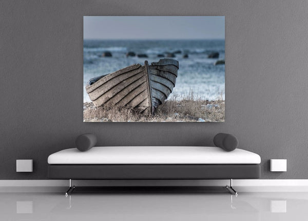 home decor Printed Old small wooden boat print Painting wall art Canvas Print decor print picture canvas Free shipping/y-2576