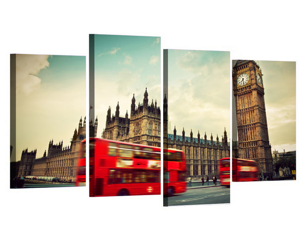 HD Printed 4pcs London Clock Tower Red Bus Painting on canvas room decoration print poster picture Free shipping/XA003