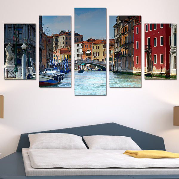 5 piece canvas art paintings Venice water city house HD print home decor wall decorations living room posters and prints ny-6207
