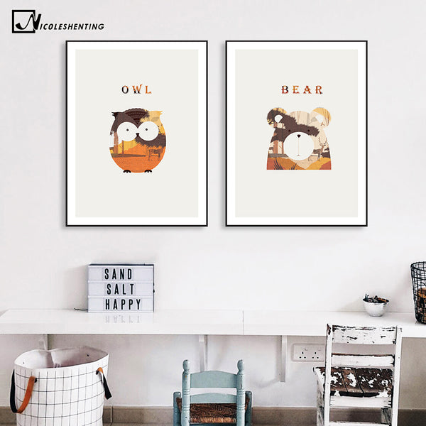 Nordic art animal fox bear owl canvas poster minimalist painting nursery wall picture print modern children