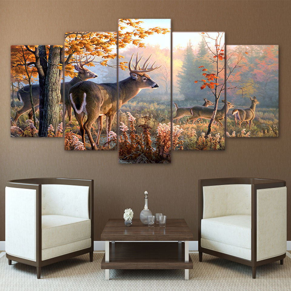 HD Printed canvas painting deer forest Picture 5 piece canvas art home decor poster print wall pictures for living room ny-1735