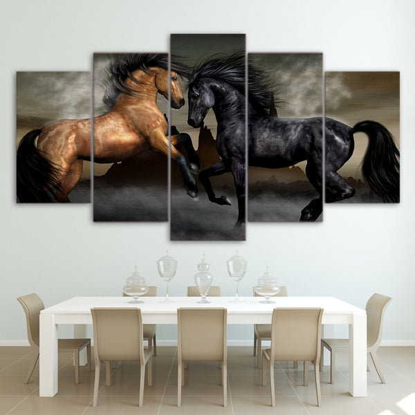 HD Printed 5 piece canvas art black brown horse painting wall pictures for living room wall art Free shipping/ny-2946