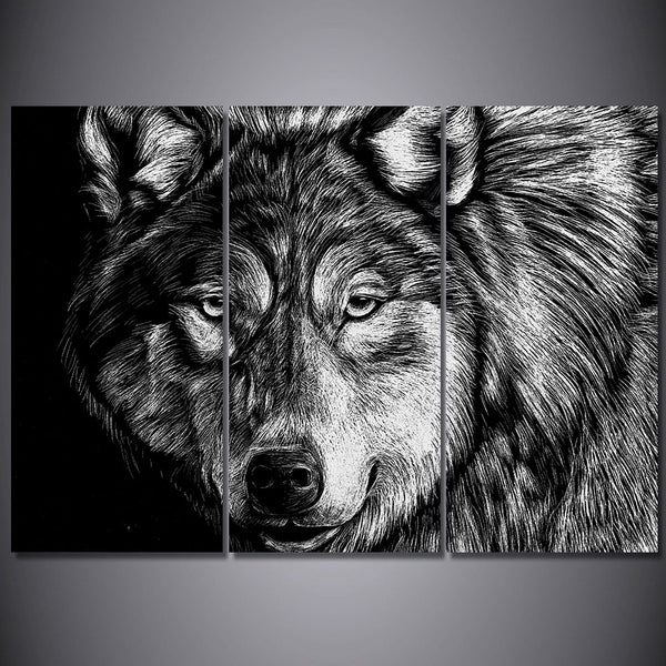 3 Piece Canvas Art Wolf Poster Black White Picture HD Printed Wall Art Home Decor Canvas Painting Prints Free Shipping NY-6604C