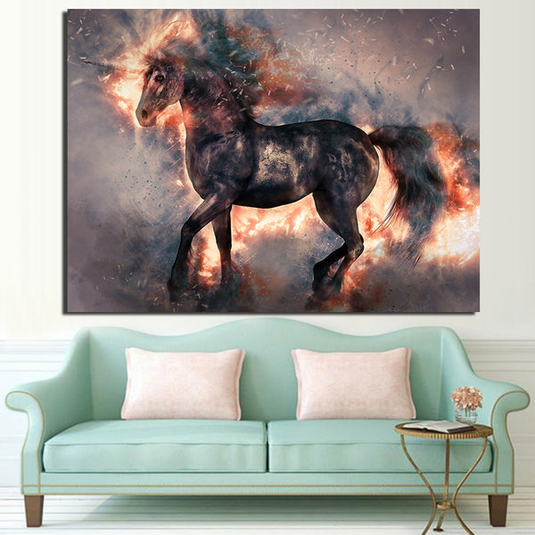 1 Piece Canvas Art Blooming Unicorn Poster HD Printed Wall Art Home Decor Canvas Painting Picture Prints Free Shipping NY-6608C