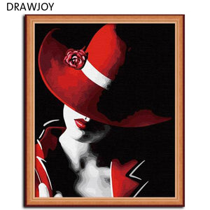 DRAWJOY Frameless Pictures Paint By Numbers DIY Digital Canvas Oil Painting Wall Art Home Decoration Beauty Lady 40*50cm G013
