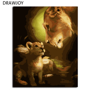 DRAWJOY Frameless Picture Painting By Numbers Home Decor DIY Canvas Oil Painting Of Lion Motherhood For Living Room 40*50cm G368