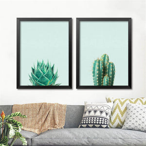 Green Plant Cactus Canvas Art Print Poster Still Life Wall Picture Canvas Painting Home Decor FG0030