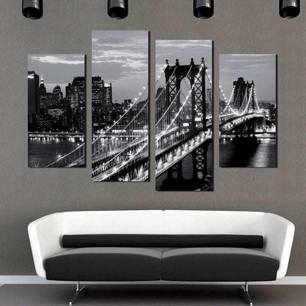 Hot Sale 4 Pieces Modern Wall Painting New York Brooklyn Bridge Home Decorative Black And White Art Picture Prints On Canvas