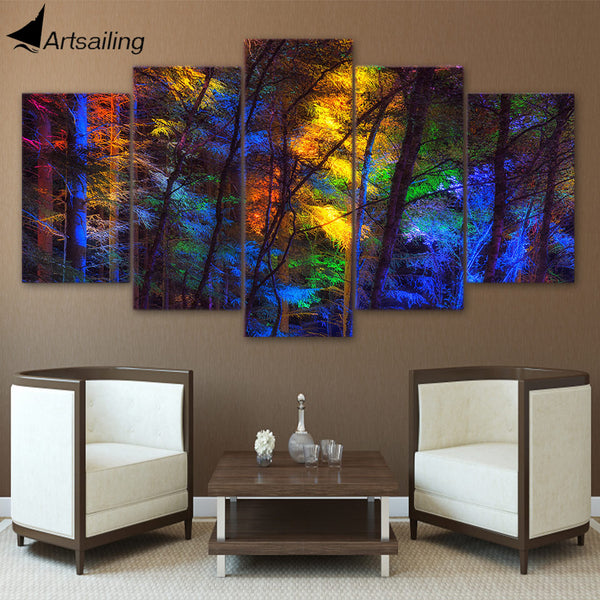 HD printed 5 piece canvas art colorful forest tree poster paintings living room decor wall canvas art sets free shipping ny-6502