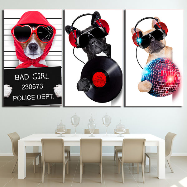 3 Piece canvas art Musicality Bulldog Canvas Painting Wall Art Canvas Posters and Prints Wall Pictures for Living Room ny-6622D
