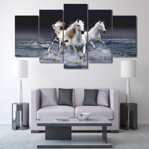 5 piece canvas art Animal Whitehorse poster HD Printed Canvas Painting room decor wall art canvas picture Free shipping H050