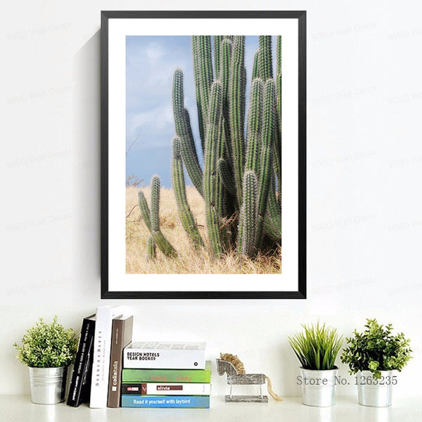Cuadros Nordic Decoration Posters And Prints Wall Pictures For Living Room Green Cactus Wall Art Canvas Painting No Poster Frame