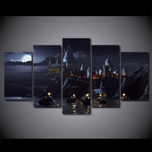 HD Printed 5 piece canvas art Harry Potter poster School Hogwarts Castle Painting posters and prints art Free shipping/ny-6267