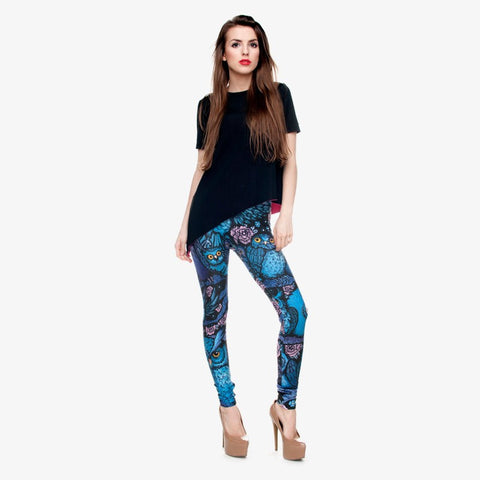 Night Owl Full Printing Pants Women Clothing Ladies fitness Legging Stretchy Trousers Leggings