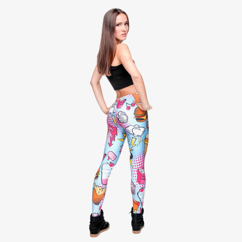 Fast Food Comix 3D Printing Punk Women Ladies Legging Stretchy Trousers Casual Pants Leggings
