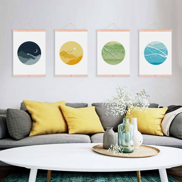 Modern Summer Mountain Birds Sun Moon Landscape Framed Canvas Paintings Nordic Home Decor Wall Art Print Pictures Poster Scroll