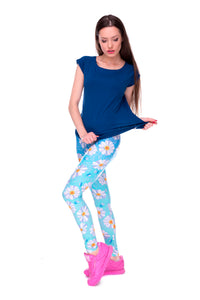 Elasticity Daisy Blue Ombre Printed Fashion Slim fit Legging Trousers Casual Polyester Pants