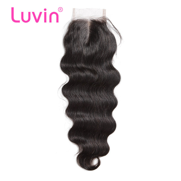 Luvin Brazilian Lace Closure Hair Body Wave 100% Remy Human Hair Closure Middle Part Bleached Knots With Baby Hair Shipping Free