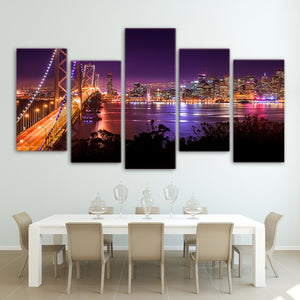 HD Printed san francisco Night Bridge Painting Canvas Print room decor print poster picture canvas Free shipping/ny-3009