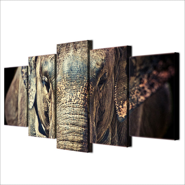 HD Printed elephant close up face trunk ears Painting Canvas Print room decor print poster picture canvas Free shipping/ny-6029