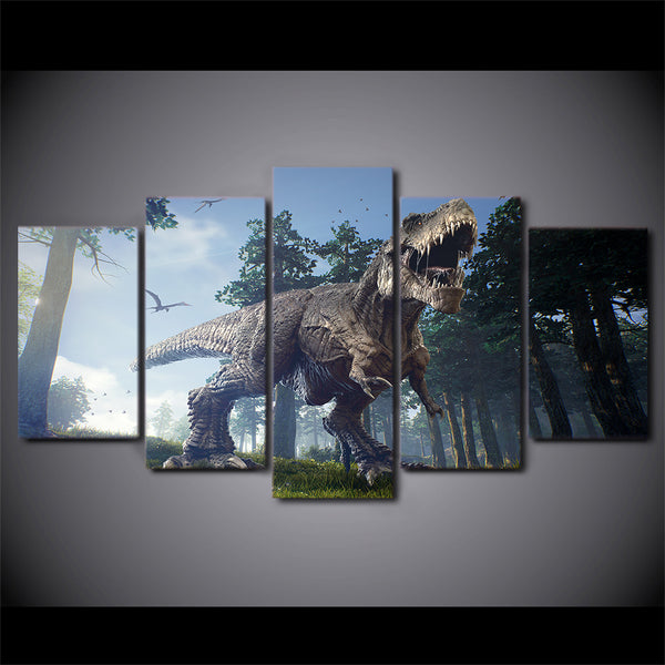 Canvas Paintings Printed 5 Pieces Jurassic Park Dinosaurs Wall Art Canvas Pictures For Living Room Bedroom Home Decor CU-1393C