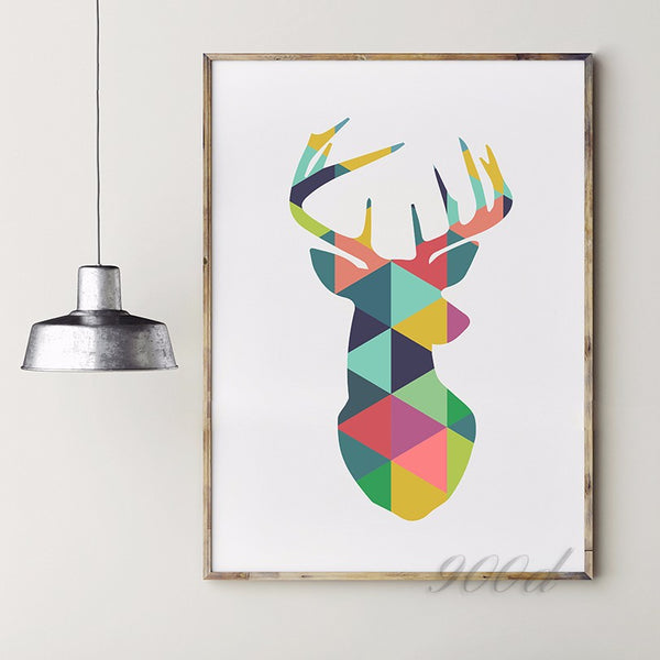 Geometric Deer Head Canvas Art Print Painting Poster, Wall Pictures For Home Decoration, Frame not include 237-32