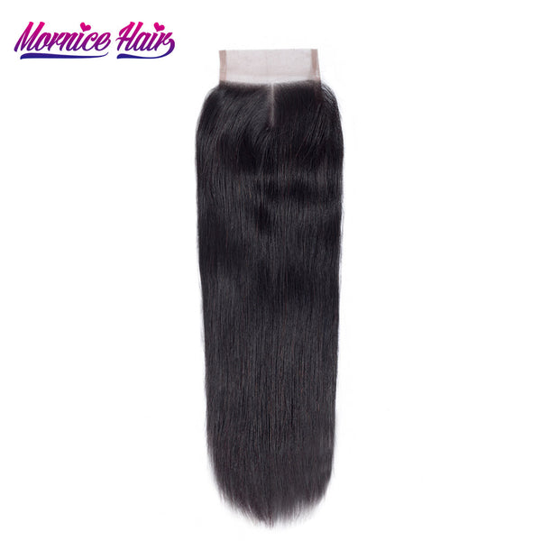 Mornice Hair Brazilian Remy Hair 4X4 Lace Closure Middle Part Straight Hair Density 130% Bleached Knots Free Shipping