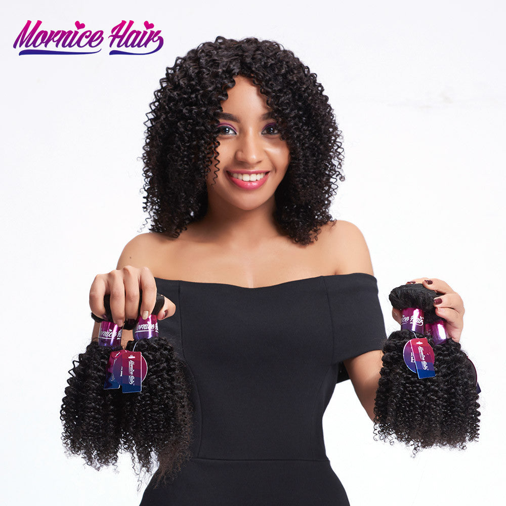 Mornice Hair Malaysian Remy Hair 1 Bundle Kinky Curly Human Hair Weave Natural Black Color Double Weft Free Shipping 100g