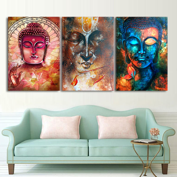 HD printed buddha wall art 3 piece canvas living room decoration modern wall art 3 pieces  Free shipping/NY-6262