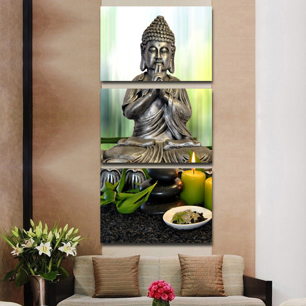 HD printed stones with flower Buddha statue Painting wall pictures for living room canvas painting Free shipping/NY-6815C