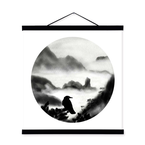 Oriental Black White Chinese Ink Calligraphy Landscape River Boat Framed Canvas Painting Home Deco Wall Art Print Picture Poster