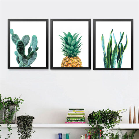 Modern Cactus Pineapple Plants Decorative Painting Wall Painting Creative Fruits Botanical Art Wall Painting FG0042
