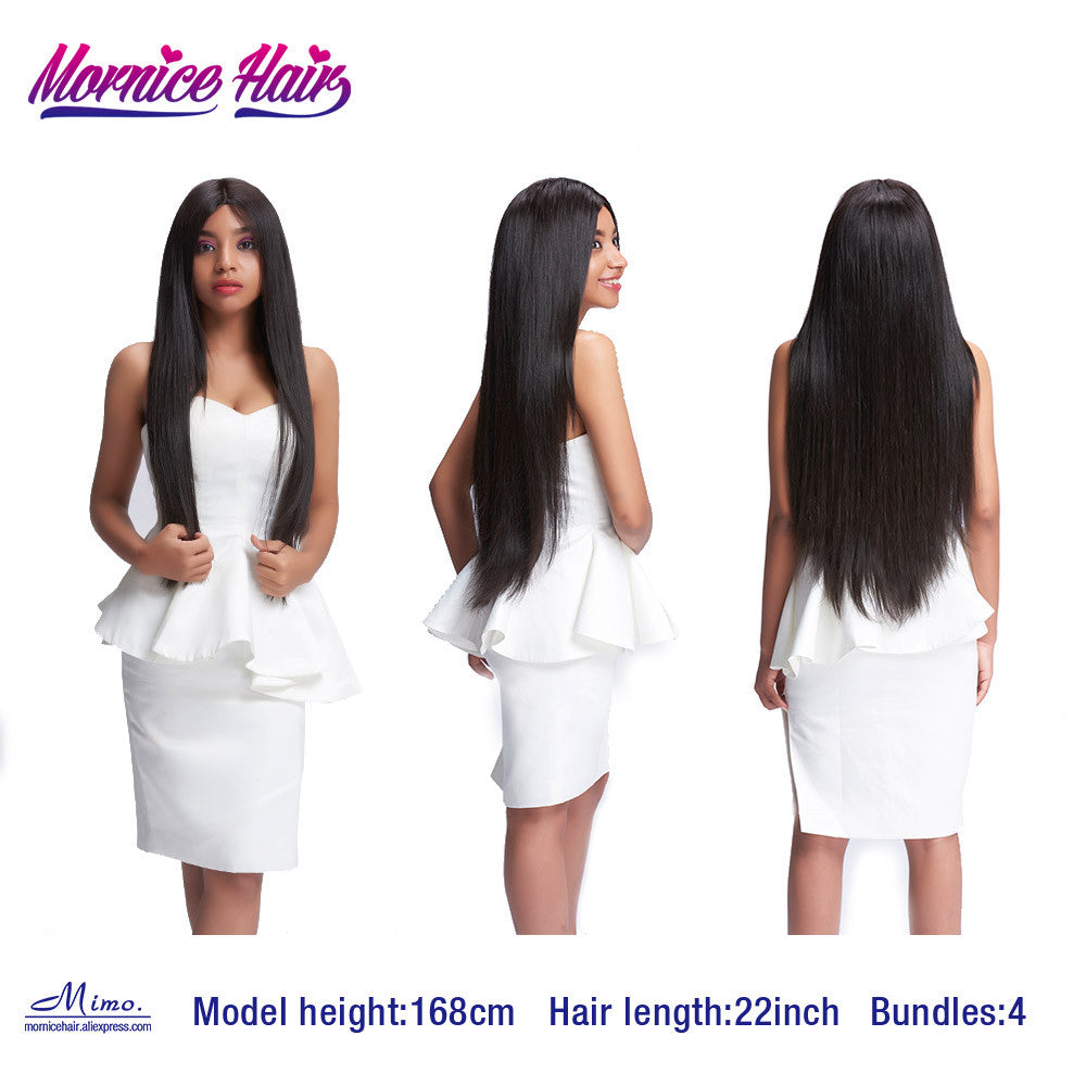 Mornice Hair Brazilian Straight Hair 100% Remy Human Hair Weave 1 Bundle Free Shipping Natural Black 12inch to 26inch 100g