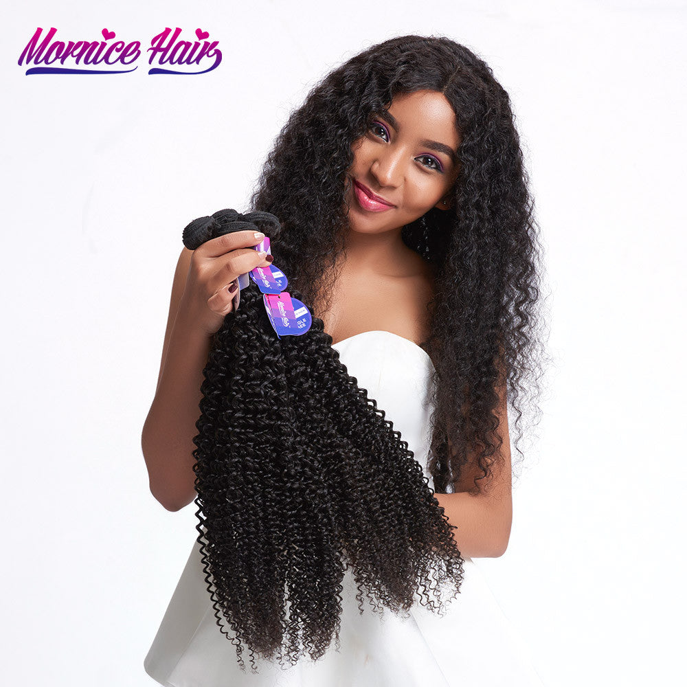 Mornice Hair Brazilian Kinky Curly Remy Hair 1 Bundle 100% Human Hair Weave Natural Color Double Weft Free Shipping 100g